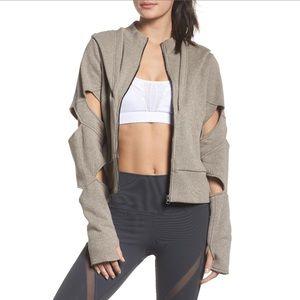 Alo Yoga Taupe Giant hood zip jacket arm cutouts